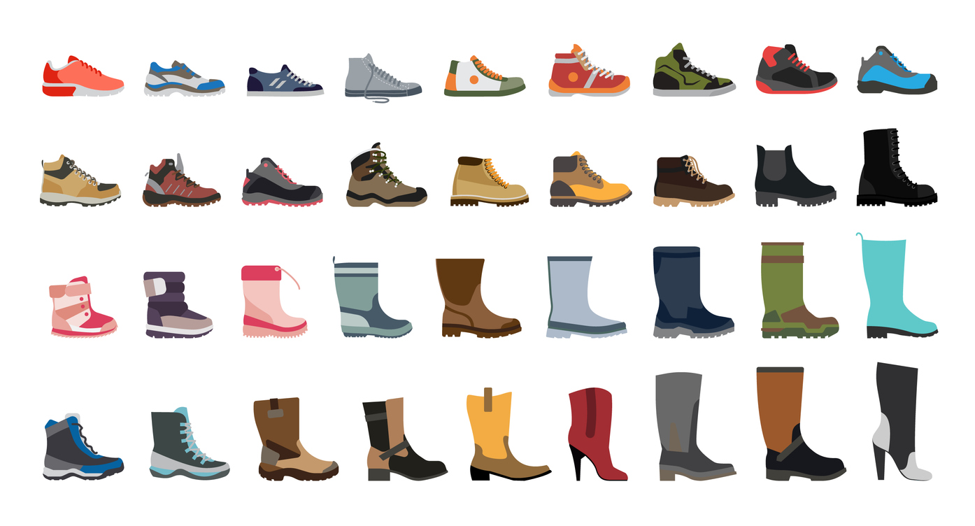 Stylish and fashionable shoes, sneakers and boots.